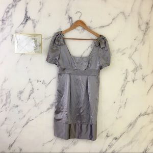 Dresses & Skirts - Silver Grey Silk Empire Waist Babydoll Dress Bows